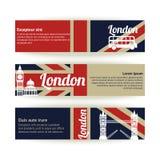 Inzameling van banners en linten met Londen Stock Foto's