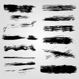 Inzameling van banners en vlekken van de grunge de de zwarte inkt op witte achtergrond Stock Afbeelding