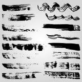 Inzameling van banners en vlekken van de grunge de de zwarte inkt op witte achtergrond Royalty-vrije Stock Fotografie