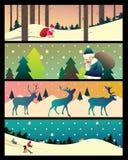 Inzameling van banners met de landschappen van Kerstmis Royalty-vrije Stock Foto's