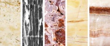 Inzameling van banners met marmeren textuur Stock Fotografie