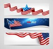 Inzameling van banners voor Onafhankelijkheidsdag Royalty-vrije Stock Foto's