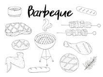 Inzameling van BBQ Voorwerpen Reeks van barbecue royalty-vrije illustratie