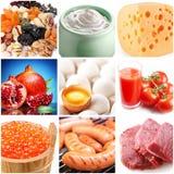 Inzameling van beelden van voedsel Stock Fotografie