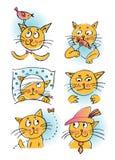 Inzameling van beeldverhaalkatten Stock Foto