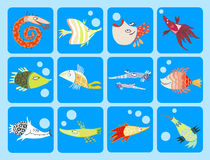 Inzameling van beeldverhaalvissen Stock Fotografie