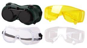 Inzameling van beschermende bril Veiligheidsbril plastic beschermende het werkglazen stock afbeelding