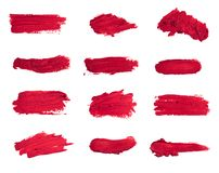 Inzameling van bevlekte die lippenstiften op wit wordt geïsoleerd royalty-vrije stock foto's