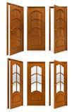 Inzameling van binnenlandse houten deuren Royalty-vrije Stock Foto's