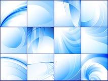 Inzameling van blauwe abstracte achtergronden Royalty-vrije Stock Fotografie