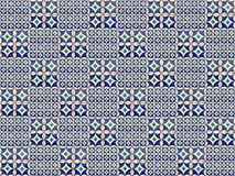 Inzameling van blauwe en groene patronentegels royalty-vrije stock afbeeldingen