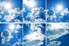 De blauwe hemel van de inzameling met dikke wolken Royalty-vrije Stock Foto's