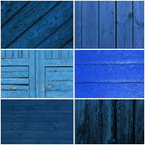Inzameling van blauwe houten achtergrond Stock Fotografie