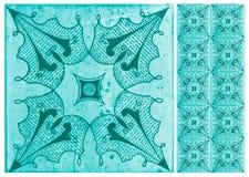 Inzameling van blauwe patronentegels royalty-vrije stock foto