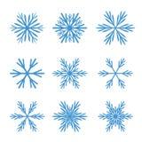 Inzameling van Blauwe Sneeuwvlokken Stock Foto's