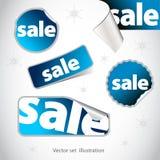 Inzameling van blauwe verkoopstickers Stock Afbeeldingen