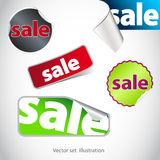 Inzameling van blauwe verkoopstickers Royalty-vrije Stock Afbeelding