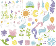 Inzameling van bloemen en veren voor ontwerp Royalty-vrije Stock Foto