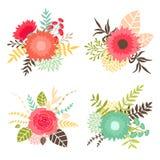 Inzameling van boeketten met bloemen en bladeren Stock Afbeeldingen