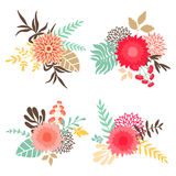 Inzameling van boeketten met bloemen en bladeren Royalty-vrije Stock Foto