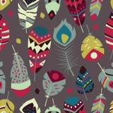 Inzameling van boho uitstekende stammen etnische hand getrokken kleurrijke veren Stock Afbeeldingen
