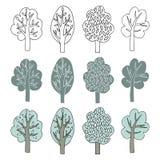 Inzameling van Bomen Stock Afbeeldingen