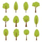 Inzameling van bomenillustraties Kan worden gebruikt om eender welk aard of gezond levensstijlonderwerp te illustreren royalty-vrije illustratie
