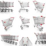 Inzameling van boodschappenwagentje op wit wordt geïsoleerd dat Stock Foto's