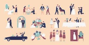 Inzameling van bruid en bruidegom die voor huwelijksceremonie voorbereidingen treffen Reeks voorbereidingen voor geïsoleerde de d royalty-vrije illustratie