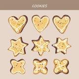 Inzameling van cake voorgestelde koekjes Royalty-vrije Stock Afbeelding