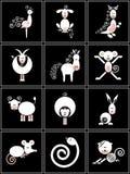 Inzameling van Chinese tekens van de dierenriem Stock Foto's