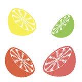 Inzameling van citrusvruchtenplakken - sinaasappel, citroen, kalk en grapefruit, geplaatste pictogrammen stock illustratie