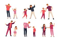 Inzameling van conflicten tussen ouders en kinderen op witte achtergrond worden geïsoleerd die Probleem van wederzijdse agressie stock illustratie