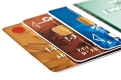 Inzameling van creditcards op wit wordt geïsoleerd dat royalty-vrije stock afbeeldingen