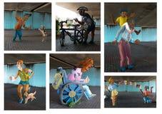 Inzameling van 2D geschilderde metaalstandbeelden Stock Fotografie