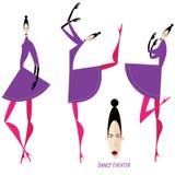 Inzameling van dansende vrouwen Stock Afbeelding