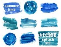 Inzameling van de abstracte blauwe slagen van de verfborstel Stock Foto