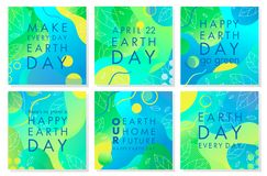 Inzameling van de affiches van de Aardedag stock foto