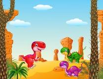 Inzameling van de beeldverhaal de gelukkige die dinosaurus met Voorhistorische achtergrond wordt geplaatst Stock Fotografie