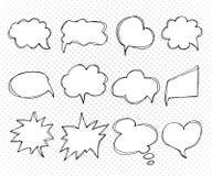 Inzameling van de bellen van de malplaatjestoespraak Getrokken hand, krabbels Royalty-vrije Stock Afbeelding