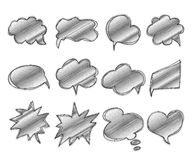 Inzameling van de bellen van de malplaatjestoespraak Getrokken hand, krabbels Stock Afbeelding