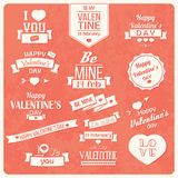 Inzameling van de dag uitstekende etiketten van Valentine, typografisch ontwerp Royalty-vrije Stock Foto