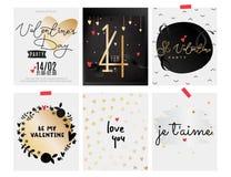 Inzameling van de dagkaarten van Valentine s Zwarte en gouden elementen vector illustratie