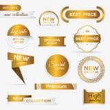 Inzameling van de de gouden verbindingen/stickers van premiepromo Stock Afbeelding