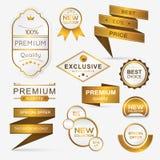 Inzameling van de de gouden verbindingen/stickers van premiepromo Stock Foto's