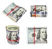 Inzameling van de dollars van Verenigde Staten, op een wit wordt geïsoleerd dat Stock Afbeelding
