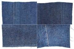Inzameling van de donkerblauwe texturen van de jeansstof Stock Foto