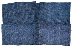 Inzameling van de donkerblauwe texturen van de jeansstof Stock Afbeelding