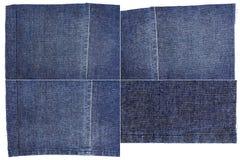 Inzameling van de donkerblauwe texturen van de jeansstof Royalty-vrije Stock Foto
