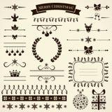 Inzameling van de elementen van het Kerstmisontwerp. Vectorillustratie. Stock Foto's